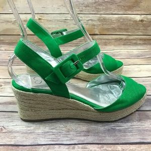 Jessica Simpson Green Open Toe Espadrille Shoes
